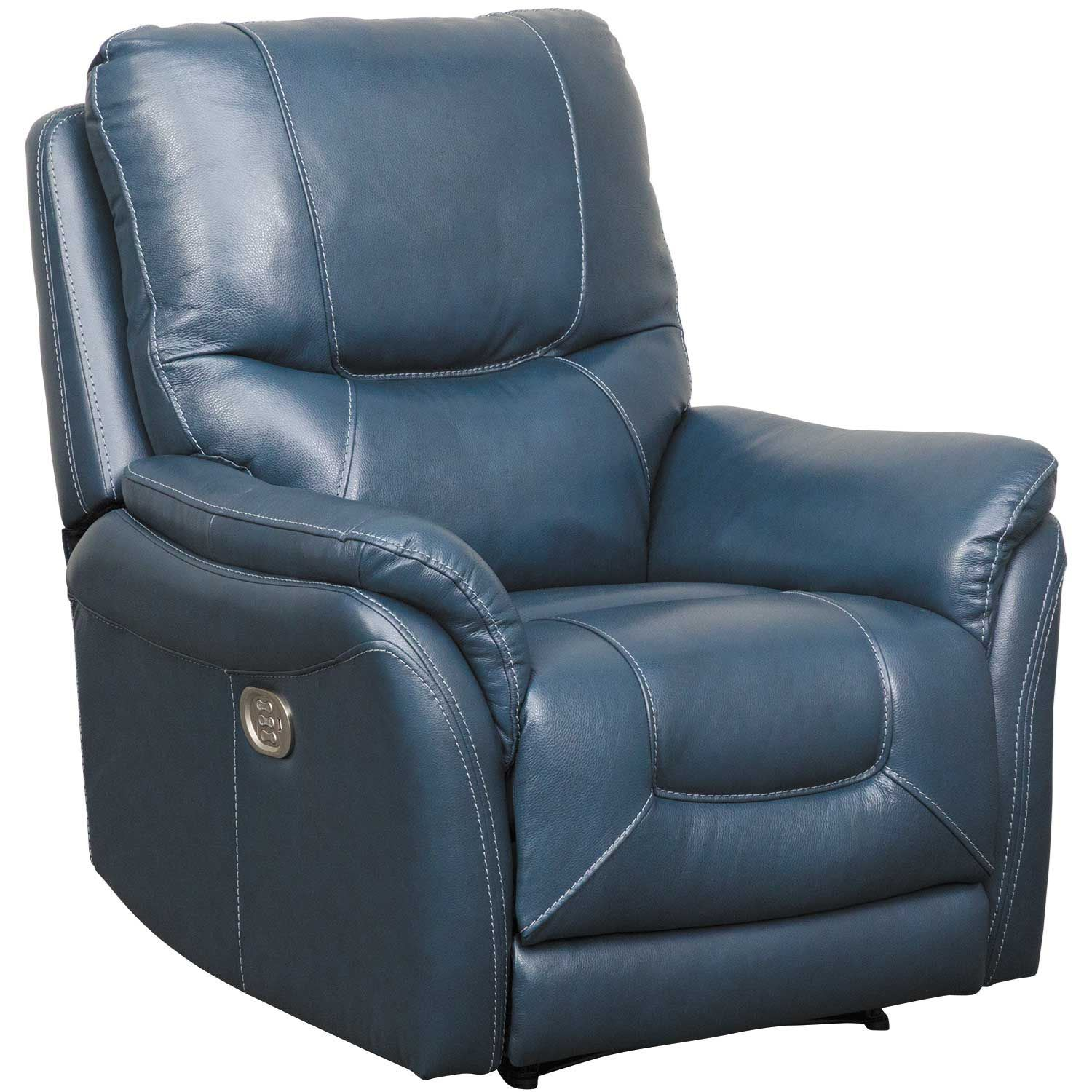 Electric Recliner Leather Chairs Stolpen Navy Leather Power Recliner