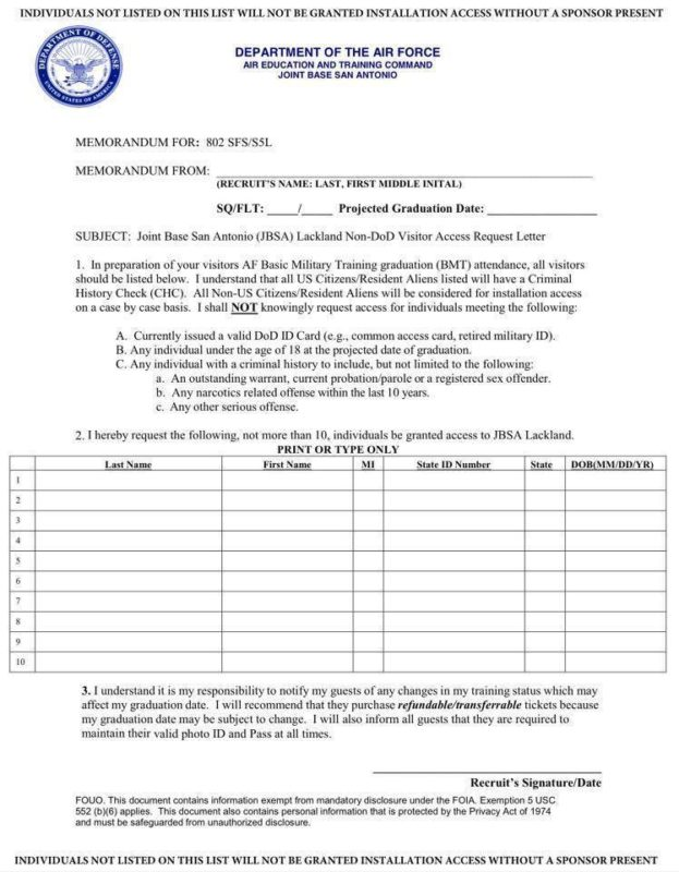 Visitor Access to Lackland AFB AF WingMoms - attendance allowance form