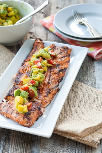 Paleo Marinated Grilled Salmon with Avocado and Stone Fruit Salsa