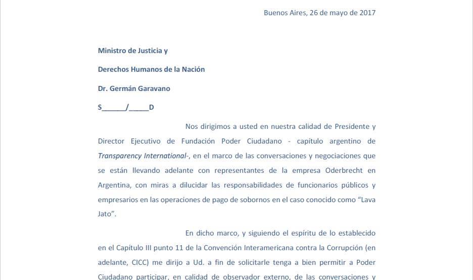 Solicitud al Ministro de Justicia y Derechos Humanos de la Nación