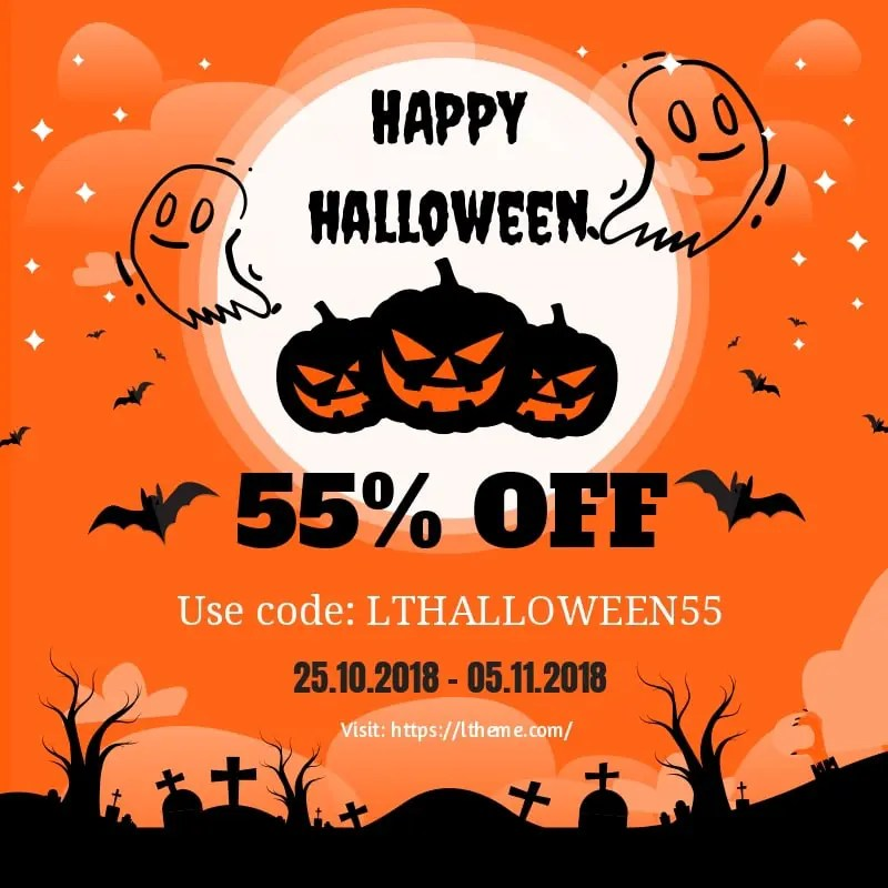 Awesome Halloween deals for getting 55 OFF for all orders from the