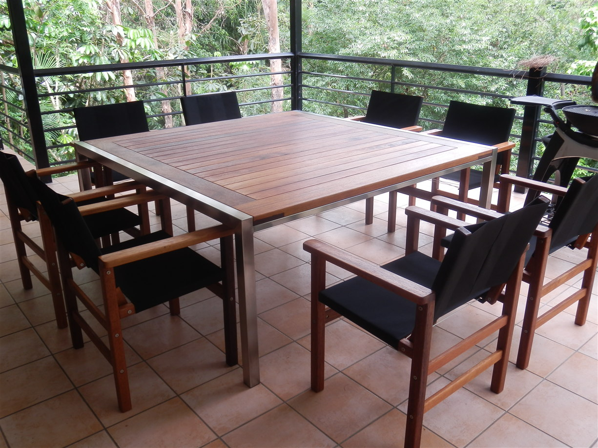 Outdoor Timber Table Barrel Table Timber Outdoor Furniture Brisbane Agfc
