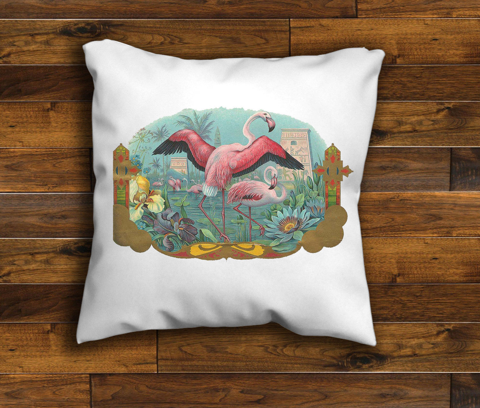 Retro Cushions Vintage Retro Flamingo Design Cushion Cover Handmade