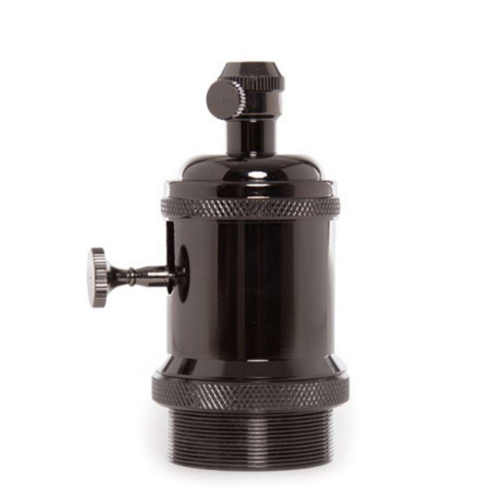 Portalamparas De Pared Portalamparas E27 Vintage Metal Interruptor Negro Agraled