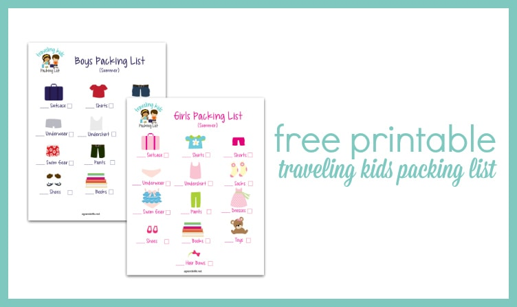 Free Printable Traveling Kids Packing List - A Grande Life