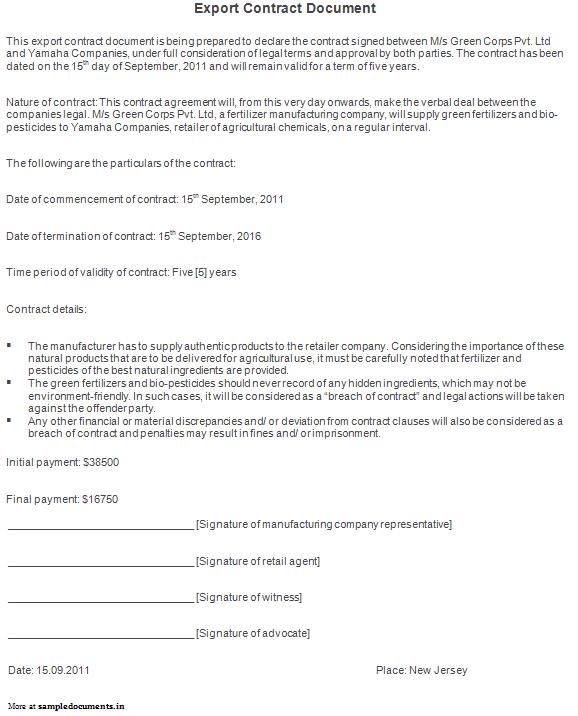 Export Services Agreements Agreement Sample Templates