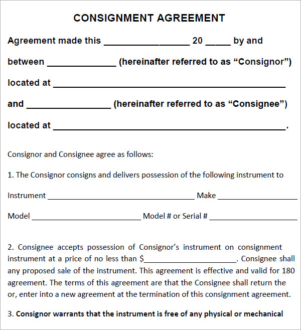 Consignment Agreement Templates Agreement Sample Templates - agreement templates