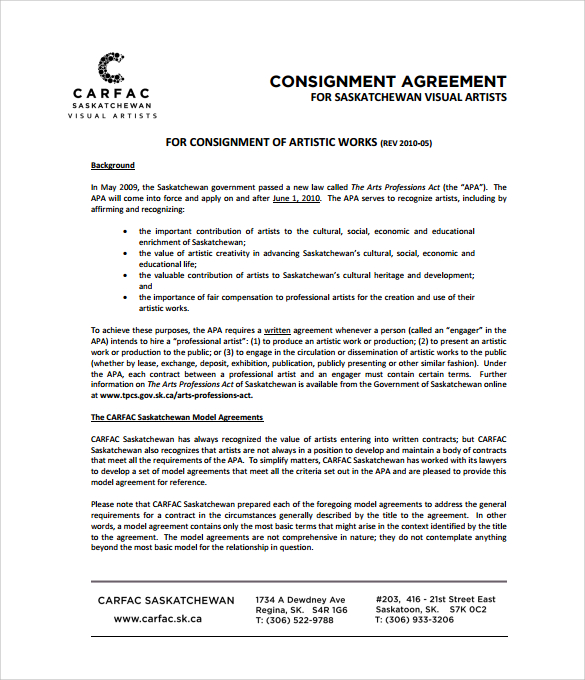 free consignment contract template – Social Contract Template