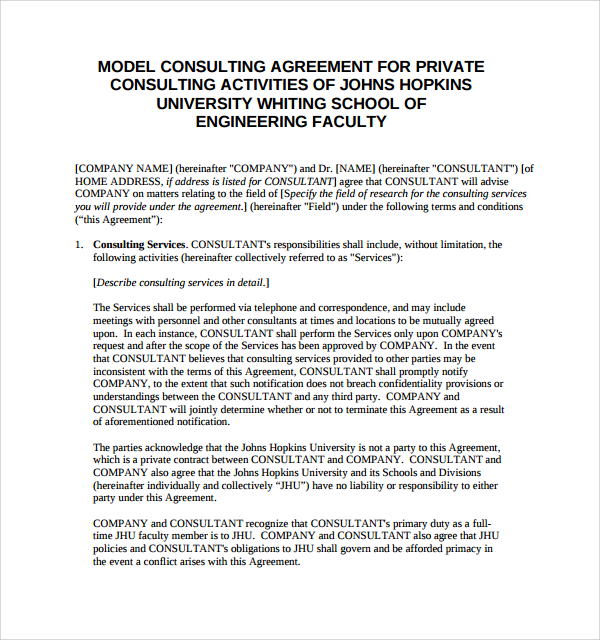 12 Free New Consultant Agreements Agreement Sample Templates