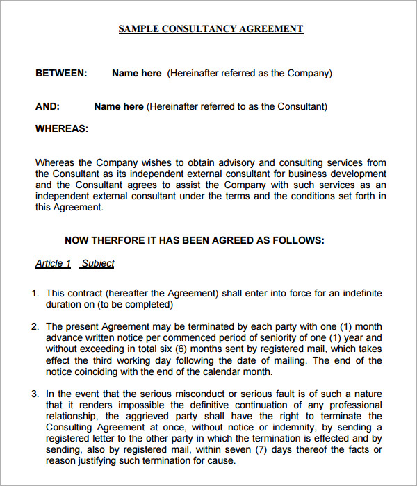Consulting Contract Templates Consulting Agreement Free Pdf Doc - sample consulting agreement