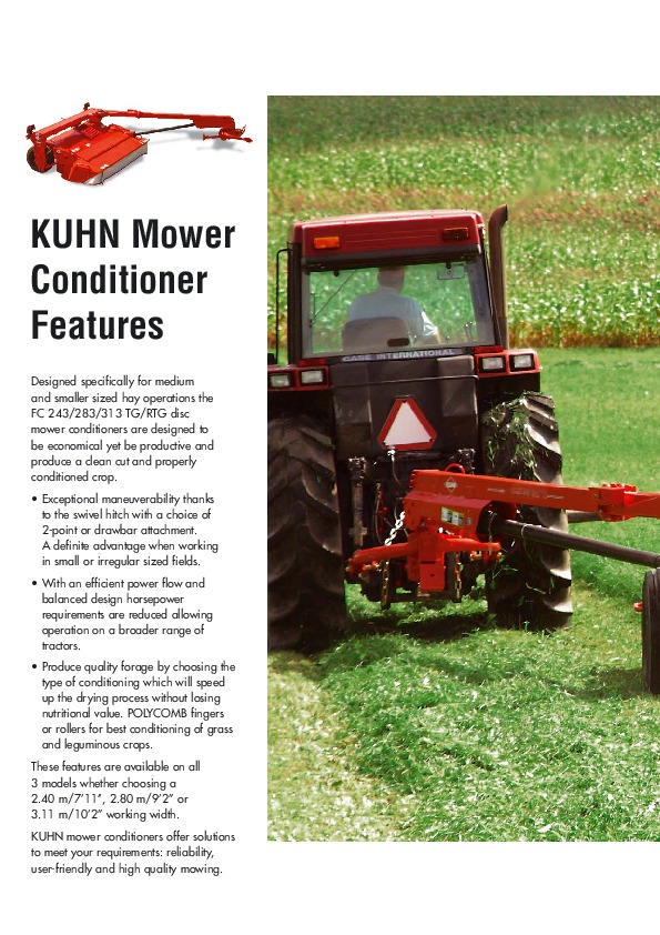 Kuhn FC 243 FC 283 FC 313 TG RTG Trailed Mower Conditioners