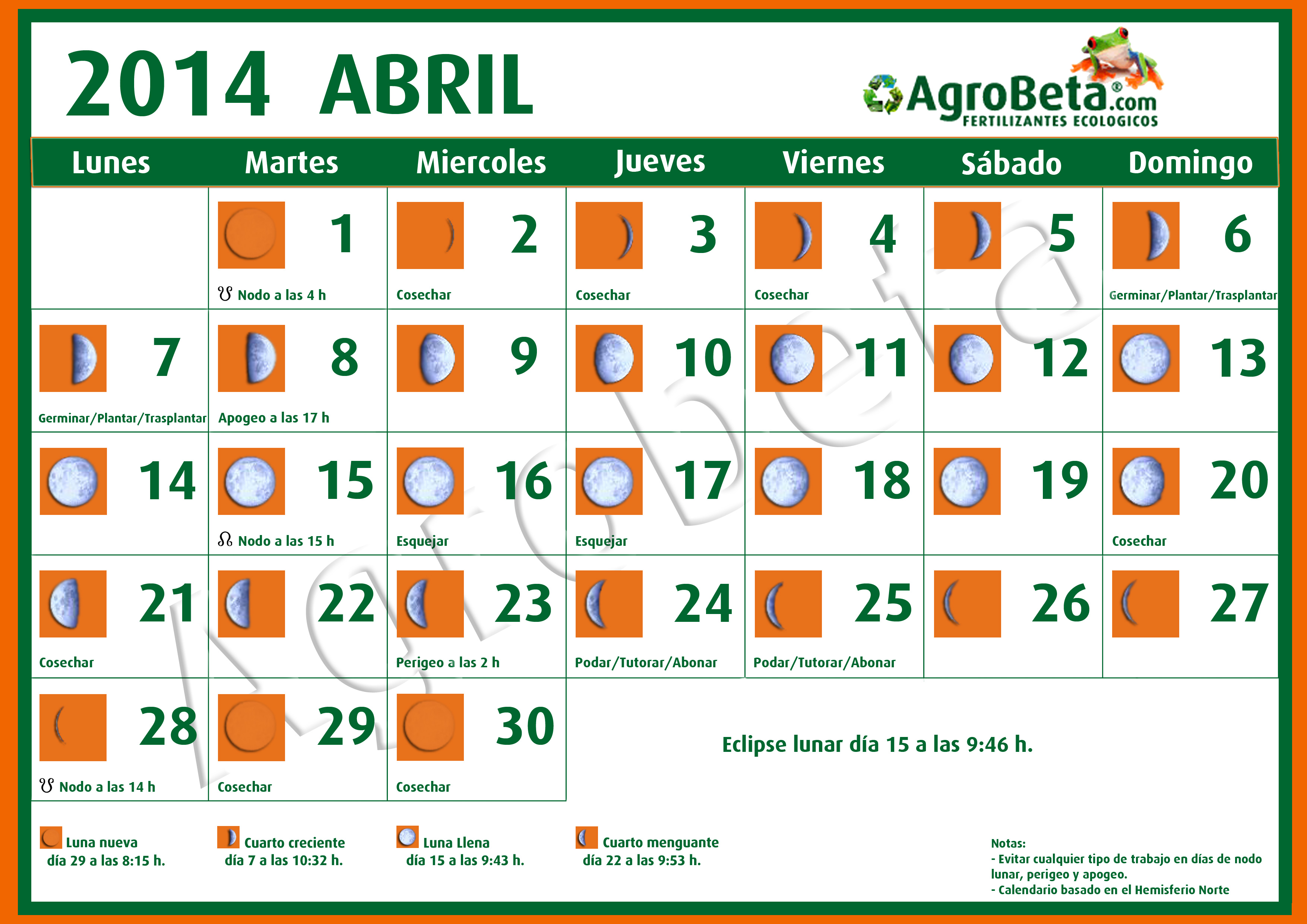 Calendario Mes Mayo 2017 Calendario Lunar Abril De 2014 Blog De Agrobeta