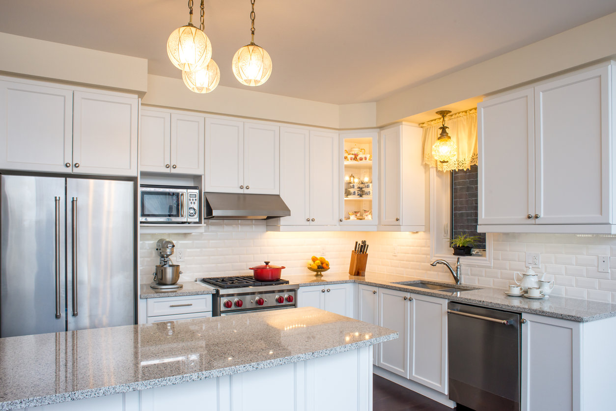 Granite Kitchen Countertops With White Cabinets Luna Pearl Granite Kitchen White Cabinets And Subway Tile