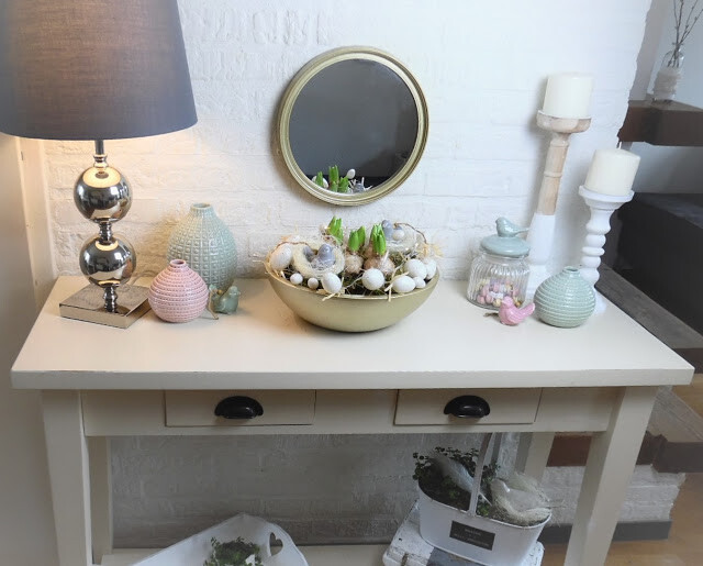 Pastel Spring Home Decor Accents Displayed On Side Table