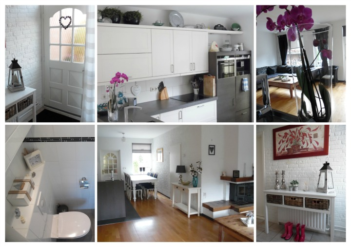 collage of images showing open plan living room after makeover