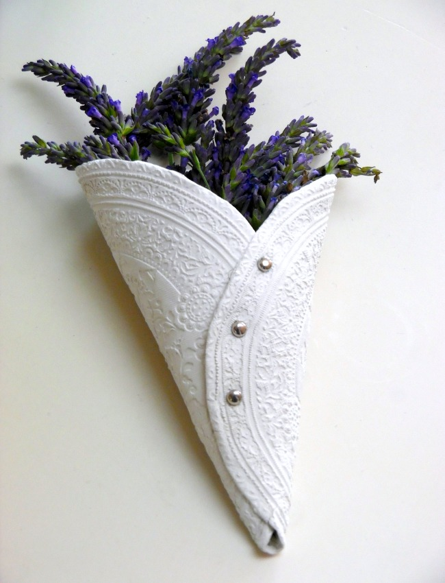 DIY Air Drying Clay Lavender Holder Project Idea - See easy step by step tutorial