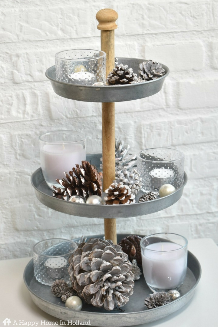 Galvanised Etagere Decorating Idea - Use a 3 tier tray to create simple winter and christmas display