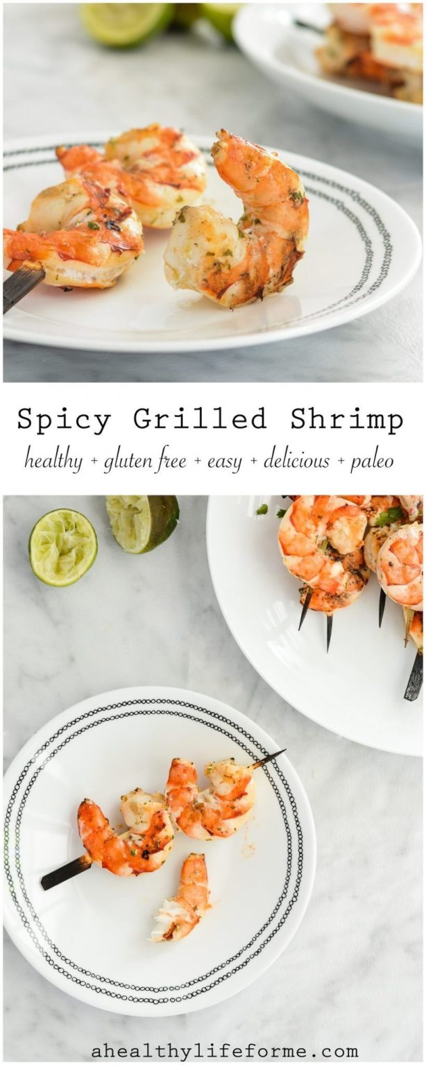 Spicy Grilled Shrimp is an easy gluten free paleo recipe that is ready in under 20 minutes | ahealthylifeforme.com