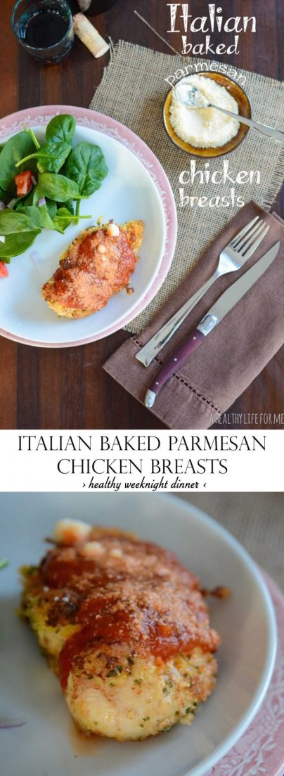 Italian Baked Parmesan Chicken Breast Recipe is a healthy weeknight dinner that will please the whole family | ahealthylifeforme.com