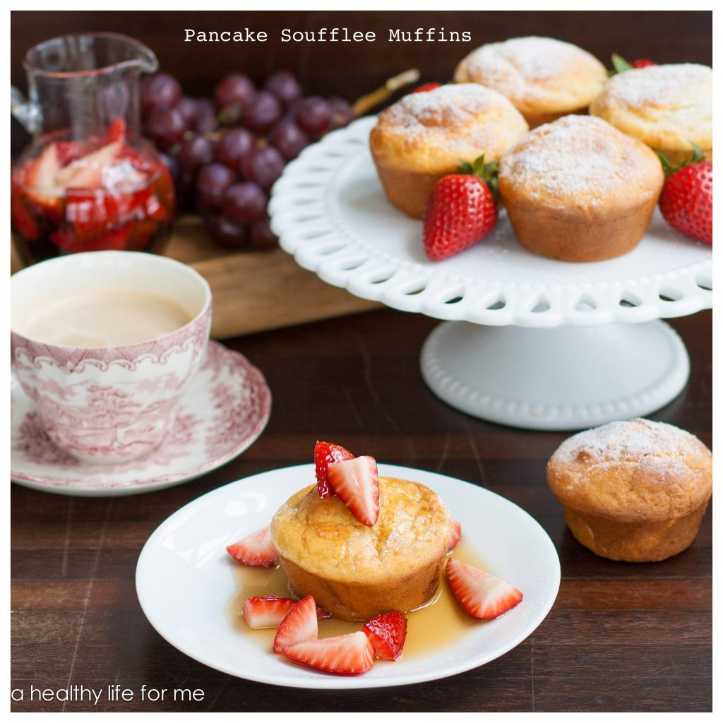 Pancake Soufflee Muffins with Strawberry Maple Syrup