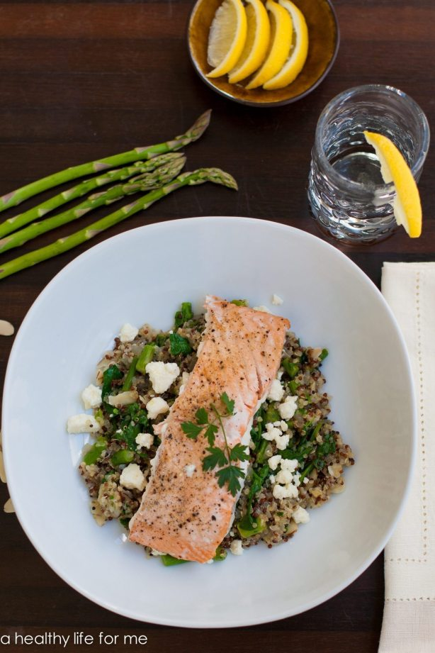 Salmon Quinoa Feta and Spinach   ahealthylifeforme.com