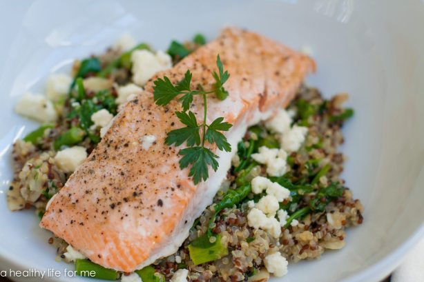 Salmon Quinoa Feta and Spinach Recipe   ahealthylifeforme.com