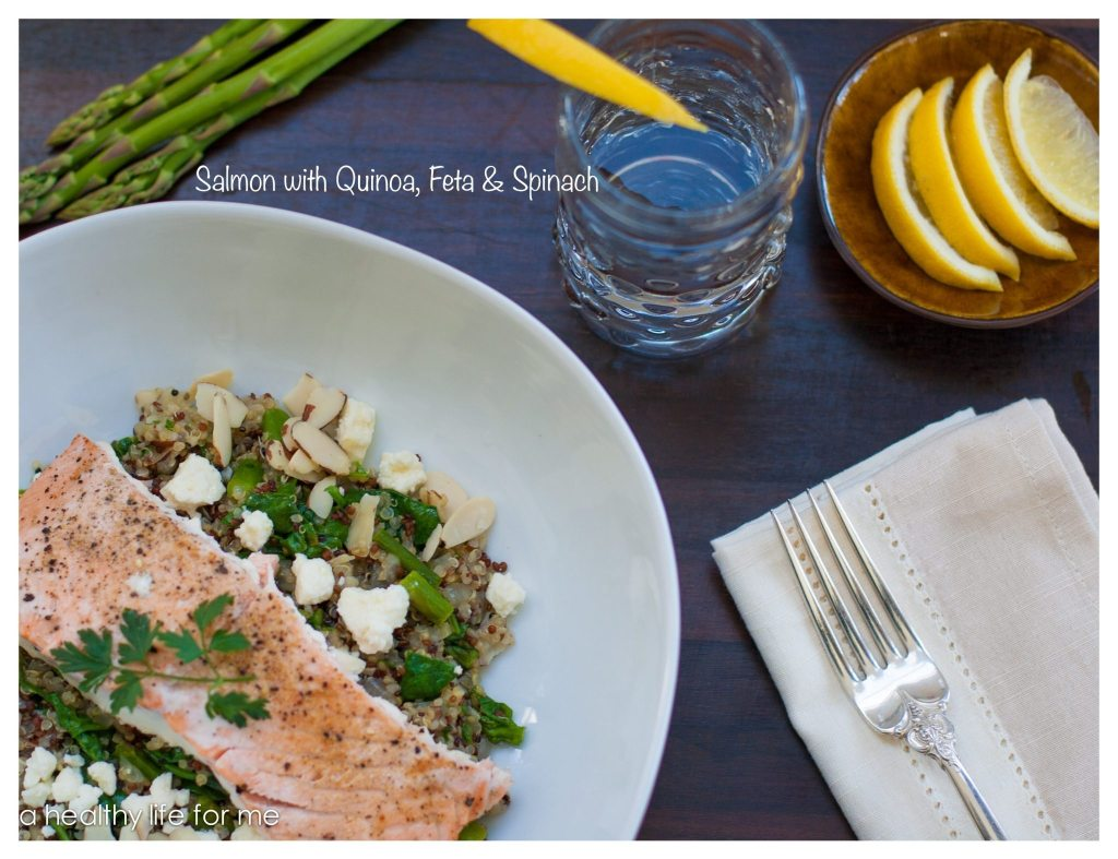 Salmon with Quinoa Feta and Spinach