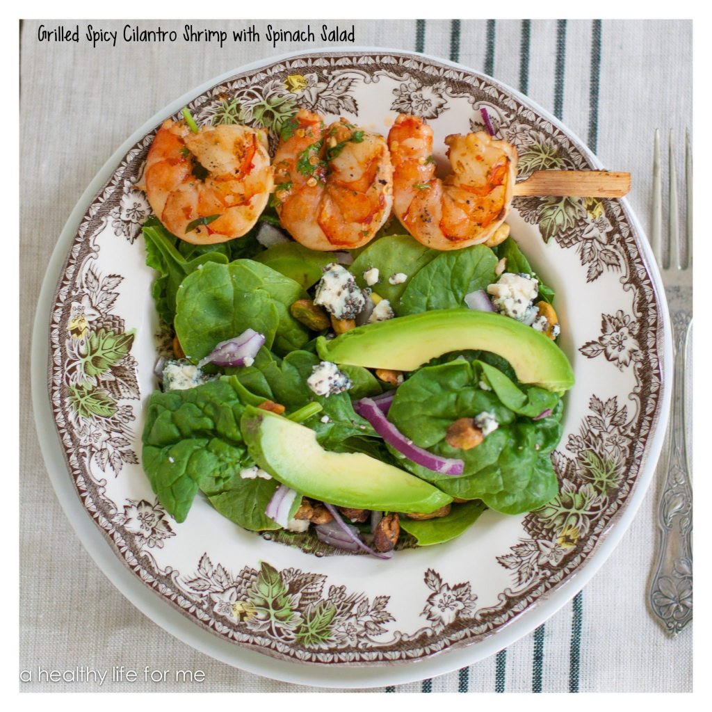 Spicy Cilantro Shrimp with Spinach Salad