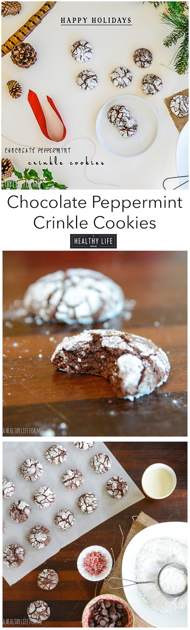 Chocolate Peppermint Crinkle cookies the classic holiday cookie recipe | ahealthylifeforme.com