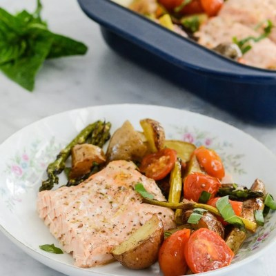 Roasted Salmon Potato Tomato and Asparagus