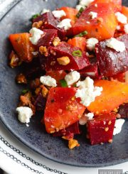 Roasted Beets Pistachio and Goat Cheese Salad is a delicious winter salad that is healthy and delicious | ahealthylifeforme.com