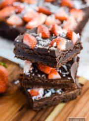 Paleo Double Chocolate Strawberry Coconut Brownie Recipe   ahealthylifeforme.com