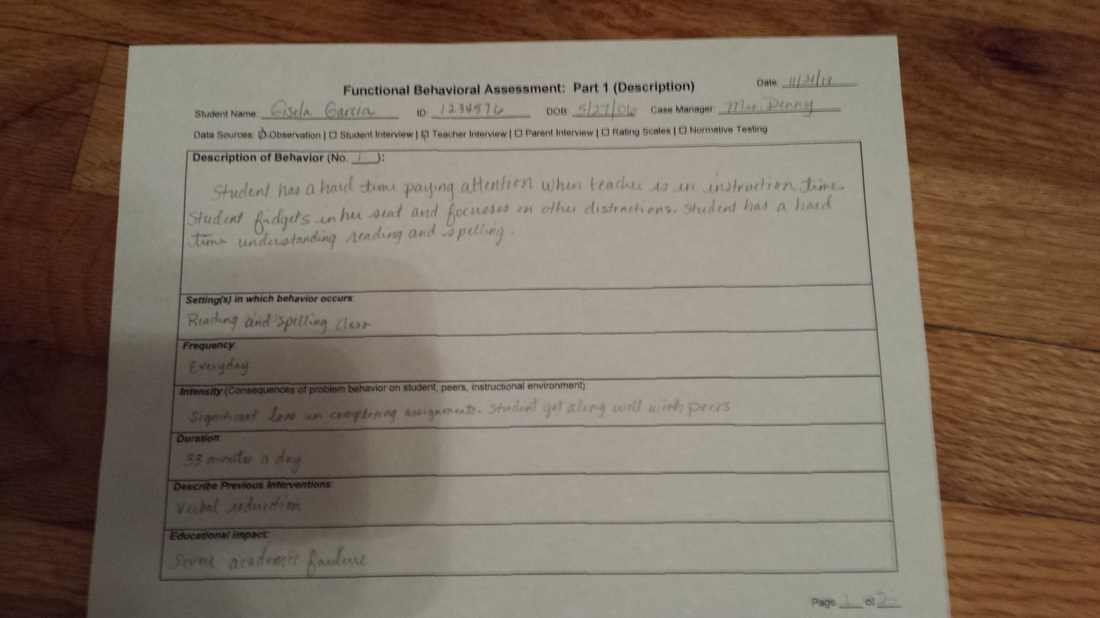Example Functional Behavioral Assessment - Mrs Hinds 4th Grade