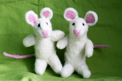 Two needle felted mice
