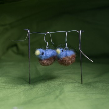 Needle Felted bird Earrings (same as before just better pics)