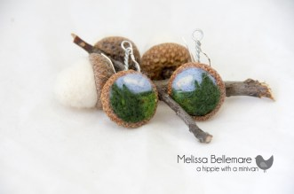 Tree scenery Earrings (Needle Felted in Acorn top)