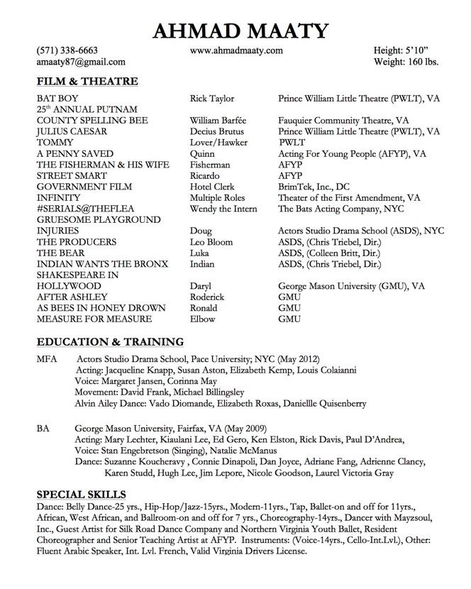 Acting Résumé