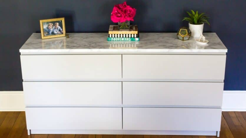 Contact Paper For Furniture How To Makeover Your Ikea Malm Dresser With A Marble Top A Home