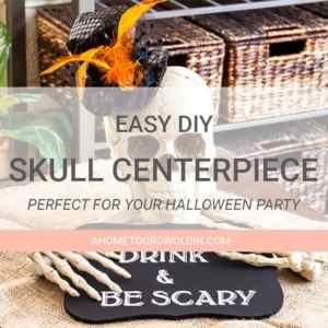 Eat Drink & Be Scary Halloween Skull Centerpiece