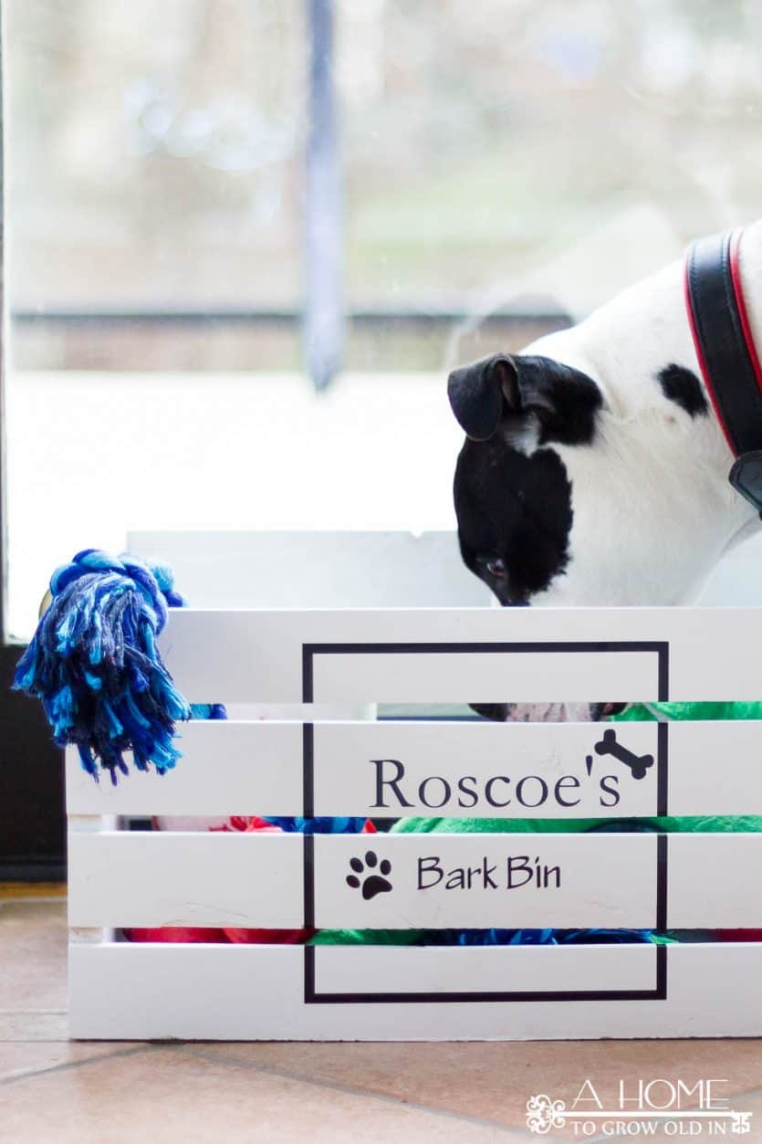 Robust Lid Dog Toy Box Amazon Using A Wooden Crate Is A Super Easy Way To Make A Toy Box Your How To Make An Easy Diy Dog Toy Box A Home To Grow Dog Toy Box bark post Dog Toy Box