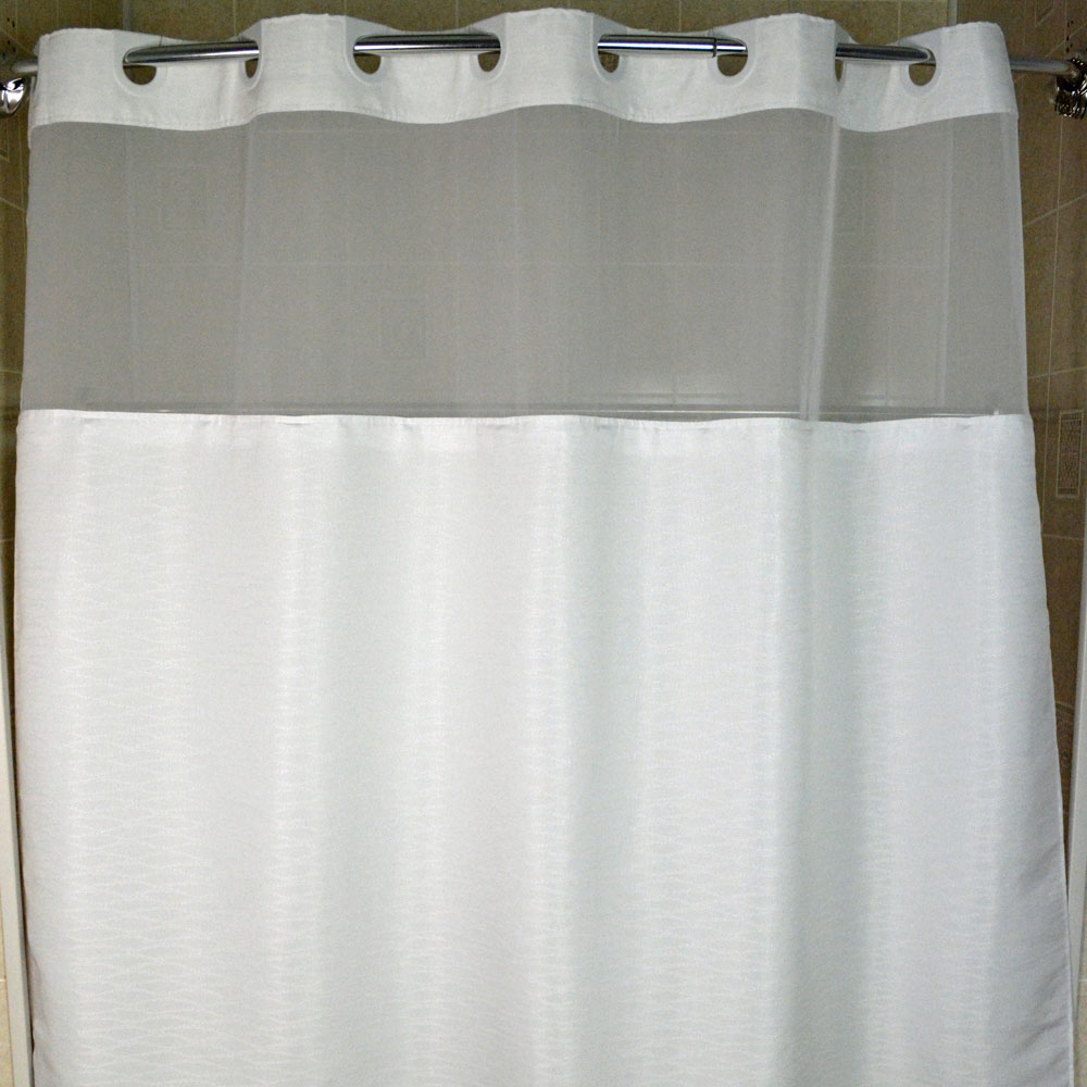 74 Shower Curtain Kartri Hang2it Coral Band Polyester Shower Curtain W Window Snap Away Liner 72x74 White 12 Per Case Price Per Each