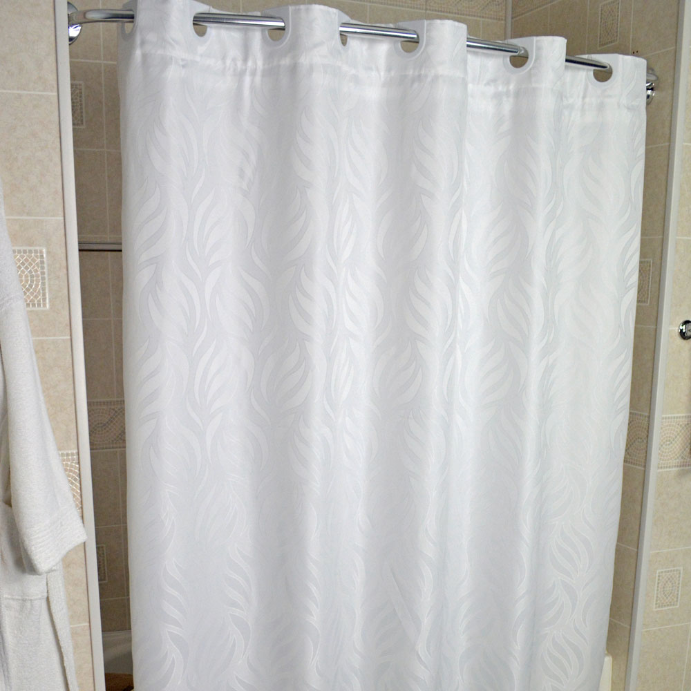 74 Shower Curtain Kartri Hang2it Woven Wave Polyester Shower Curtain W Snap Away Liner 72x74 White 12 Per Case Price Per Each