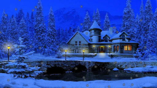 Falling Snow Live Wallpaper For Iphone 3d Christmas Cottage Android Informer New 3d Christmas