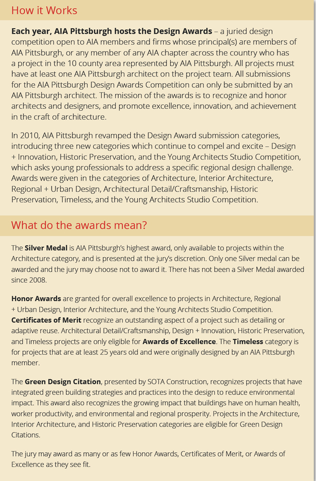 AIA Pittsburgh Design Pittsburgh 2012 - merit certificate comments