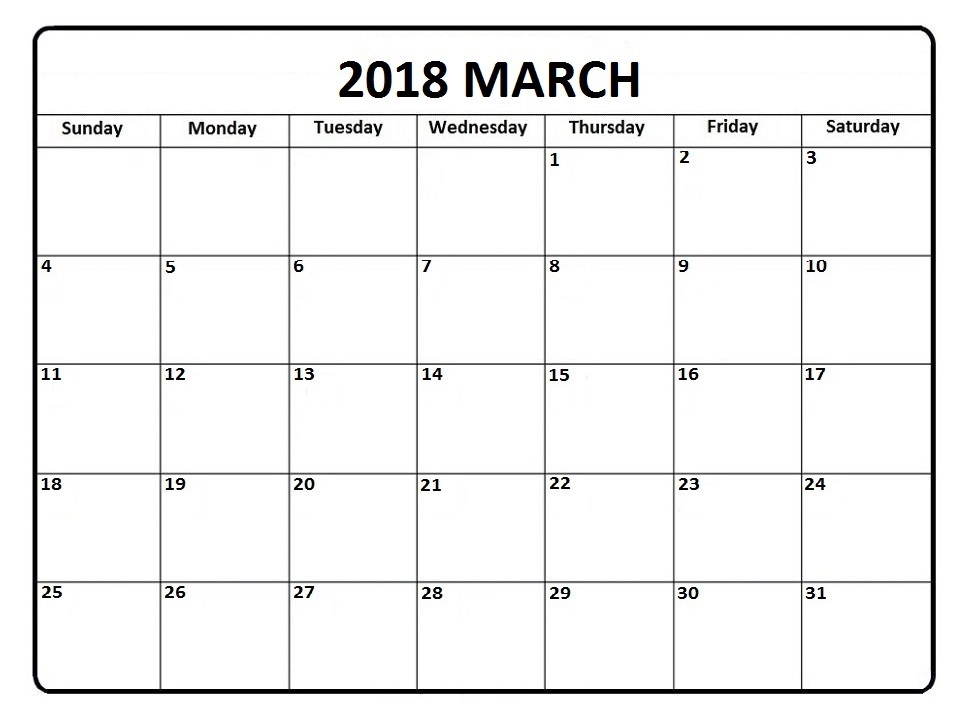 March 2018 Calendar In Pdf, Word, Excel Printable Template - Monthly - Printable Blank Calendar