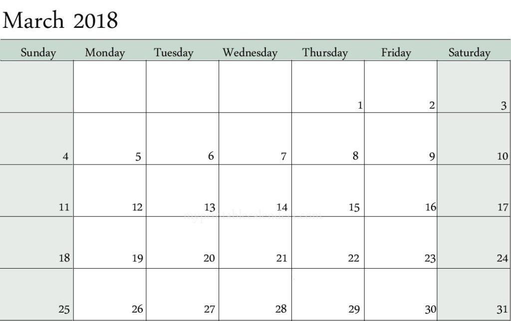 Blank Calendar March 2018 Printable Free Download - blank calendar printable