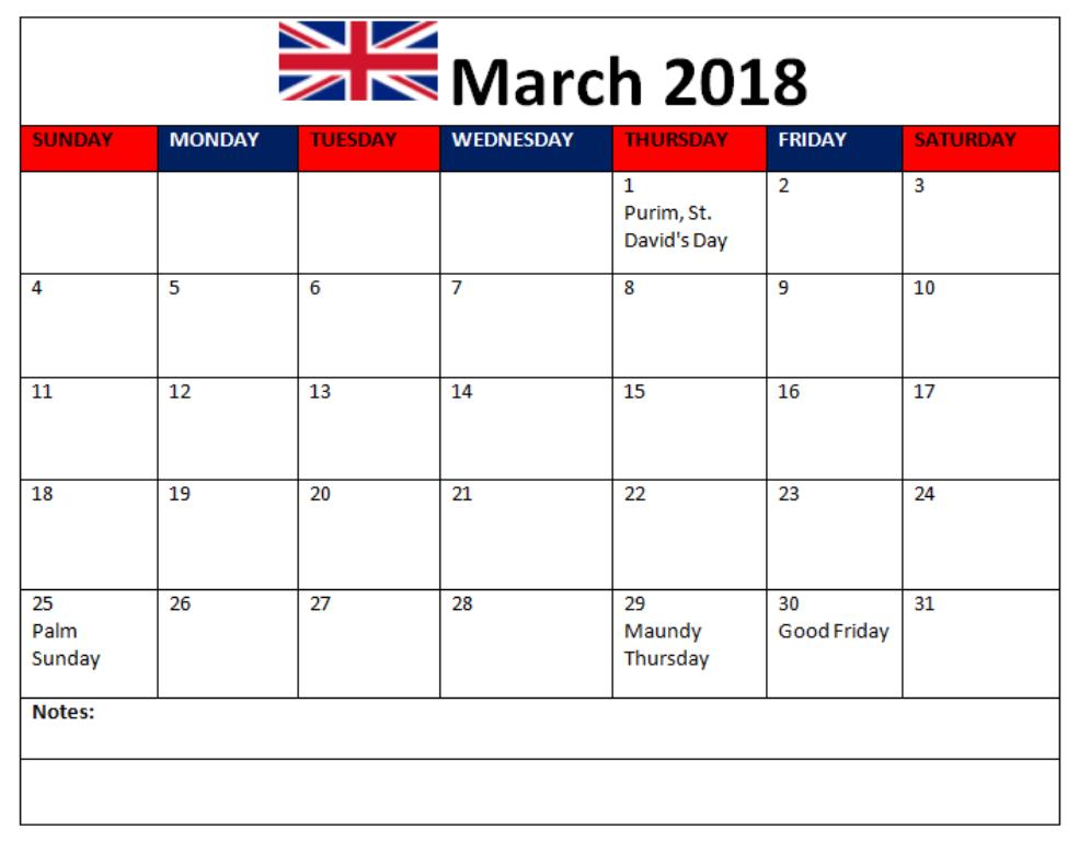 March 2018 Calendar With Holidays In USA, UK, Canada, India
