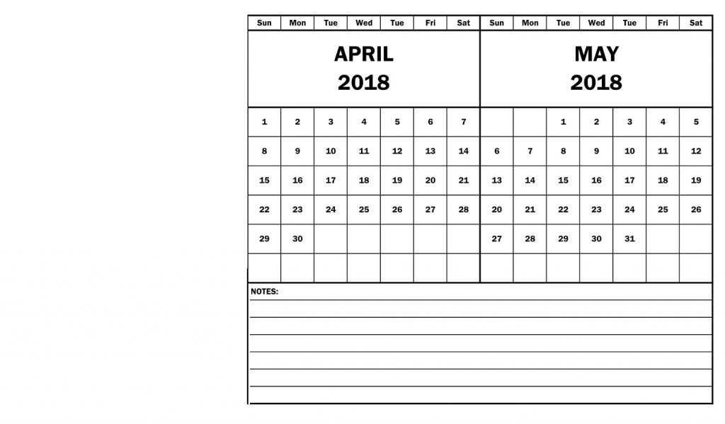 April May Calendar 2018 Two Month