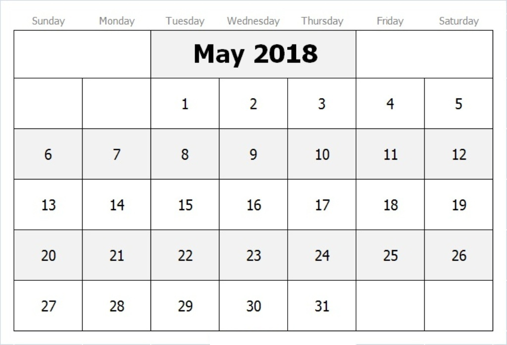 Calendar May 2018 In Pdf, Word, Excel Printable Template - Printable Blank Calendar