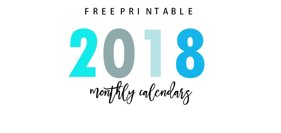 Cute 2018 Free Printable Monthly Calendar